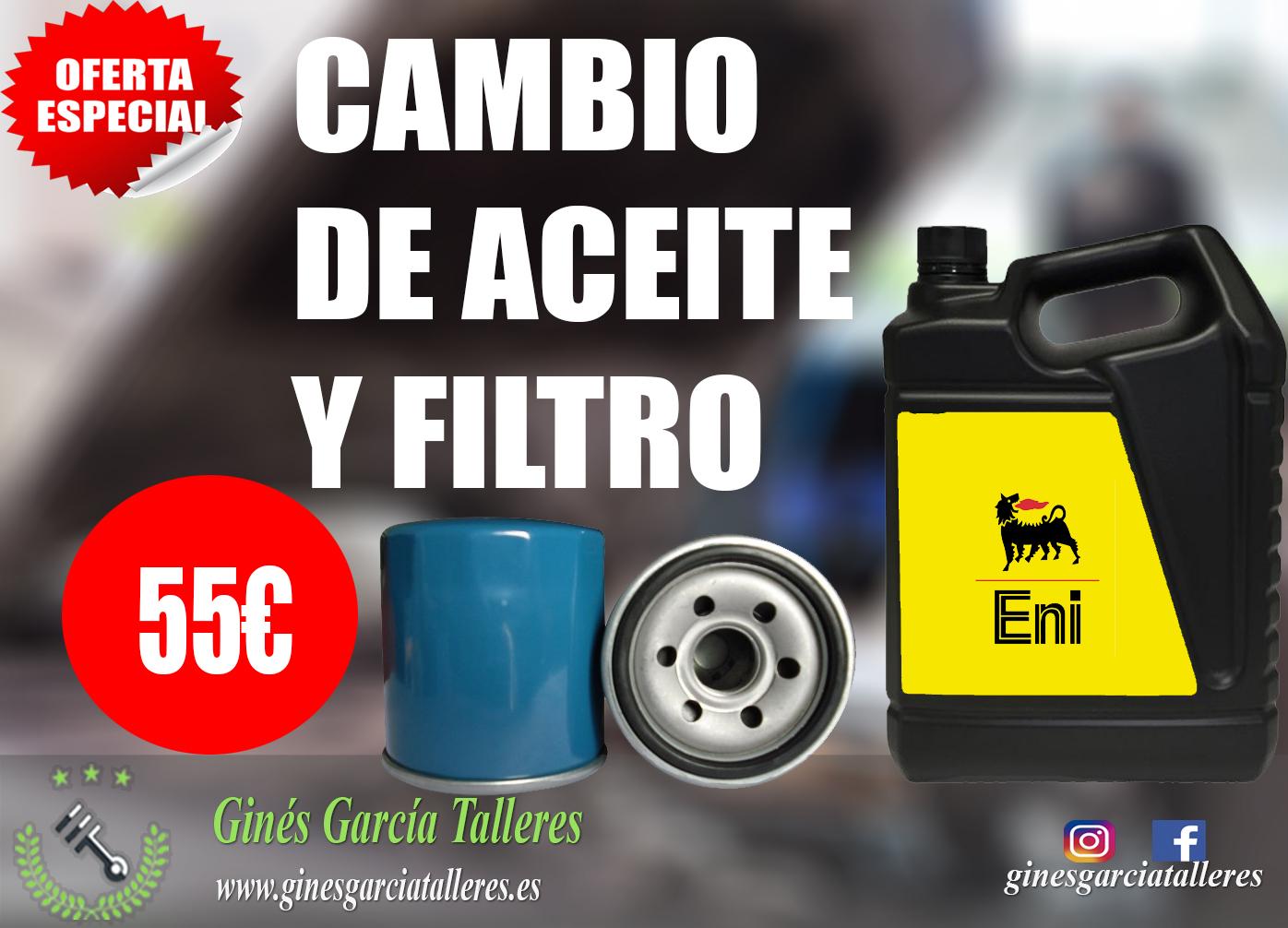 Oferta de cambio de aceite y filtro en murcia